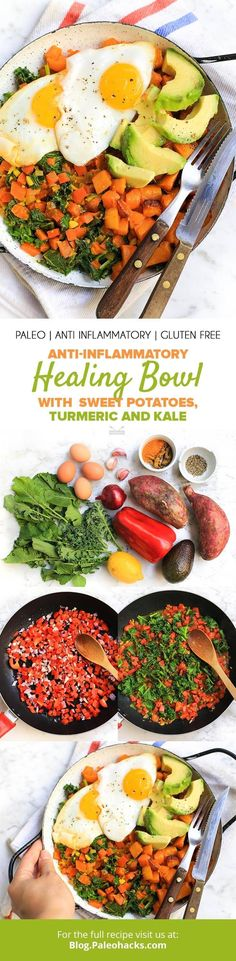 Dig into this super healthy healing bowl filled with vitamin-rich kale, sweet potato, eggs, avocado and anti-inflammatory turmeric! Paleo Recipes, Real Food Recipes, Cooking Recipes, Free Recipes, Egg Recipes, Delicious Recipes, Paleo Whole 30, Whole 30 Recipes, Paleo Dinner
