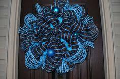 Deco Mesh Wreath, Wreath, Deco Mesh, Blue Wreath, Unique Wreath, OOAK Wreath, Holiday, Door Hanger