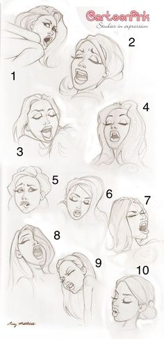 The many face of pleasing a woman in bed. Although, I'm not gonna lie. The 9th expression on the very bottom is my favorite for some reason, Idk why? Seems like she likes it rough and enjoys it.