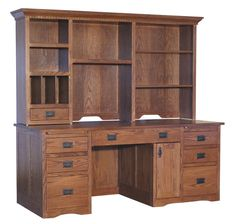 Amish Mission 2 Pedestal Desk with Extended Keyboard and Optional Hutch