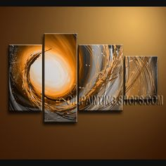 Enchant Modern Abstract Painting Oil Painting On Canvas Gallery Stretched Abstract. This 4 panels canvas wall art is hand painted by Bo Yi Art Studio, instock - $148. To see more, visit OilPaintingShops.com