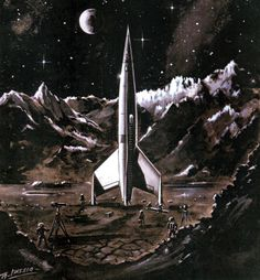 """Destination Moon"" rare art, 1950. Image credit: Erik Theodor Lässig, Germany"