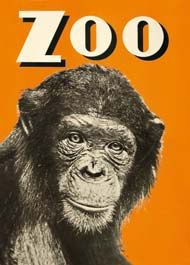 Vintage poster, monkey at the zoo