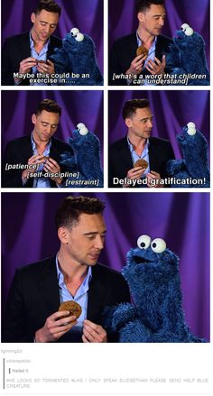 Tom Hiddleston Cookie Monster - I love these comments. Seriously, does anyone think preschoolers will relate to delayed gratification?