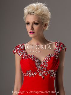 Women Sexy Red Chiffon A-Line Long Cap Sleeve Sweetheart Prom Dress - US$155.99 - Style P2516 - Victoria Prom
