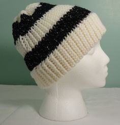 White and Black Knit Beanie Teen Girl Knit Hat Knit Slouchy Beanie Knit Stocking Cap Womans Knit Hat Fashion Accessory - Ready to Ship (20.00 USD) by JandSKnitts