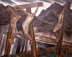"Munn explores the theme of the Passion of Christ in two styles of painting, spanning the late 1920s and early 1930s. Munn, ""Untitled (Crucifixion),"" c. 1927–28, private collection."
