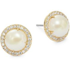 Kate Spade New York Bright Ideas 5mm Simulated Faux Pearl and Pavé... ($48) ❤ liked on Polyvore featuring jewelry, earrings, gold, post earrings, faux pearl stud earrings, fake jewelry, crystal jewellery and fake earrings