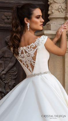 crystal design 2017 bridal off the shoulder simple clean bodice elegant classic ball gown a line wedding dress with pockets lace back royal train (rafaella) zbv