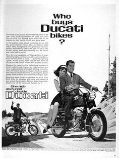 1965 Ducati Motorcycle original vintage ad. One ride and you'll decide - Ducati. Features the 50cc Falcon and 160cc OHC Monza Jr. models. Prices starting at $215.