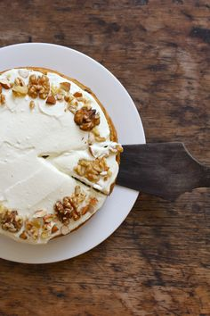 Banana carrot cake with ricotta honey frosting- no refined sugar and option to make vegan!