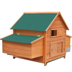 DESCRIPTION    This lovely chicken coop is a perfect choice for feeding your chickens and keeping them comfortable and safe. The hen house has been designed with a frontal window to allow fresh air in. It has two nest boxes, both with a roof that can be opened for the collection of eggs. The bottom tray can be pulled out for easy cleaning. The door is lockable from the outside with a latch. Made of high-quality pinewood, the coop is strong and durable. The green waterproof fabric on the…