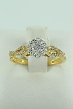 Δίχρωμο μονόπετρο δαχτυλίδι, χρυσό και λευκόχρυσο, 14 καράτια, Κωδικός WGD015