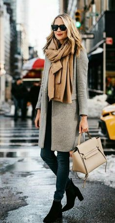 Winter Grey coat & wrap scarf