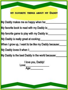 My Favorite Things About My Daddy {Free Printable}