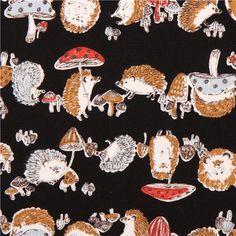 HEDGEHOG FABRIC, seriously....black hedgehog & mushroom oxford fabric by Kokka 1