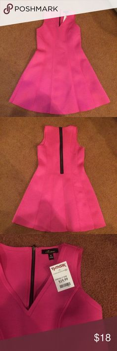 Structured Hot Pink Dress w/ Back Zipper Great dress in such a fun color! Trendy black back zipper. Perfect for work to drinks! Flattering structuring throughout the whole dress. 94% polyester 6% spandex - very comfortable too!! Monteau Dresses Strapless
