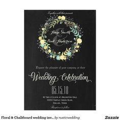 Floral & Chalkboard wedding invitation VI