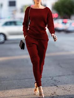 Fashion Autumn Solid Casual Knitted Suit Set
