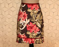 Tropical Skirt Hawaiian Floral Print Pink Brown Cotton Midi Casual Skirt Womens Skirts The Limited Small Medium Womens Clothing