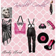 """""""Invisible Overalls"""" by thedyb on Polyvore  Pair leather look overalls with a bralet and mesh shirt to """"hide"""" the overall straps with the look! Pair with a hot hairstyle and fun accessories like this """"record"""" clutch and sweetheart stilettos, and you'll likely turn heads!   #trends #outfits #fashion #Howtostyle #WhatToWear #xfactor #heels #fashionista #pink #fuchsia #overalls #black #handbag #purse #clutch #datenight #jewelry #girly #classy #stilettos #hairstyles #party #personalstyle #pretty"""