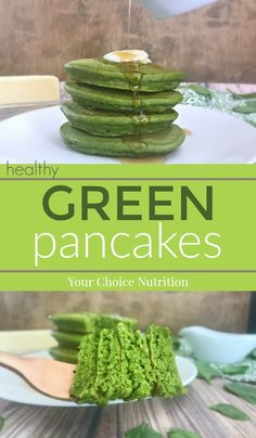 Start your day off by getting some greens in with these Green Pancakes! Whole wheat and naturally colored with spinach, they are a heart healthy option even the kids will love!