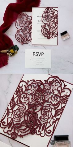 Burgundy is a fantastic color for fall and winter weddings, so if you've chosen it – enjoy our roundup!Burgundy and blush have an elegant femininity to them. It is a sophisticated palette and this invitation is just inspired from this color palette. Affordable Wedding Invitations, Laser Cut Wedding Invitations, Elegant Wedding Invitations, Burgundy Colour Palette, Wedding Gifts For Bridesmaids, Burgundy Flowers, Blue Wedding, Wedding Colors, Watercolour Flowers