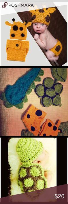 Newborn photo props - Giraffe, dinosaur, turtle Giraffe, dinosaur and turtle crocheted newborn photo props. Other
