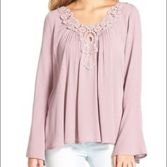 """NWT Nordstrom BP socialite Boho top Check out last two pictures for TrueColor. This gauzy crinkle top gets a romantic touch with long bell sleeves and floral appliqués at the V-neck and V-back. 23 1/2"""" length. V-neck; V-back. Bell sleeves. 100% rayon. Hand wash cold, line dry. By Socialite; imported. BP. Socalite Tops"""
