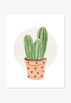 Cactus watercolor wall art print. Original illustration of cactus in pot with hearts. For nurseries, bedrooms, family rooms and workspaces. Makes a nice housewarming gift. One in a series of Cute Cact