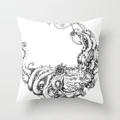 Giant Octopus throw Pillow cushion in black and by CathySuDes