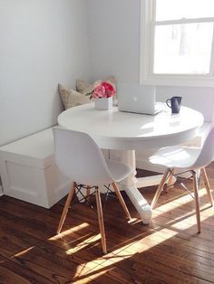 7 Genius Ways to Design a Small Space A close-knit crowd can all squeeze into a petite dining space when you have a cornerless table and a wraparound bench.