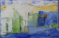 """Inge Philippin -  """"Summer in the City 1""""  - mixed media on canvas"""