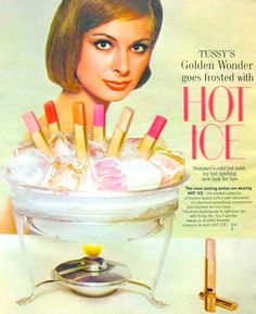 Tussy 'Golden Wonder' 'Hot Ice' Frosted Lipstick Ad, 1964