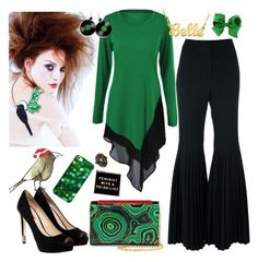 """""""Green & Black"""" by petalp ❤ liked on Polyvore featuring STELLA McCARTNEY, Retrò, Christian Louboutin, GUESS, Gucci, Casetify and pants"""