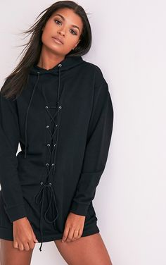 Bexie Black Lace Up Hooded Sweater Dress