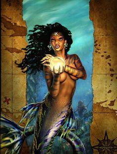 Beautiful mermaids pictures - Hot sexy mermaid pictures posts beautiful mermaid art from many different mermaid artists. Mermaid Images, Mermaid Pictures, Fantasy Mermaids, Mermaids And Mermen, Black Mermaid, Mermaid Art, African American Art, African Art, Black Women Art