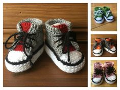 This Baby Converse Booties Free Knitting Pattern are a stylish and simple pair of booties you can give as a gift or just keep for yourself. Make one now with the free pattern provided by the link below. Baby Booties Knitting Pattern, Crochet Baby Booties, Baby Knitting Patterns, Baby Patterns, Free Knitting, Crochet Patterns, Baby Bootees, Knitting Ideas, Baby Converse