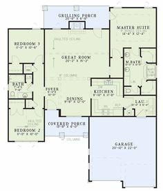 Floor Plan - House Plan:  NDG 1094 - Appalachian    1,485 Sq.Ft.   3 Bed   2 Bath