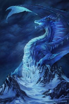 continuing my series of elemental dragons, this time it is an Ice Dragon High Fantasy, Dark Fantasy Art, Beautiful Fantasy Art, Fantasy Artwork, Mystical Animals, Mythical Creatures Art, Mythological Creatures, Dragon Images, Dragon Pictures