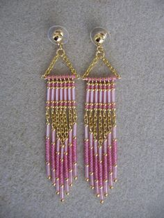Seed Bead Earrings - Modern Native American Style - Pink. $20.00, via Etsy.