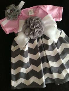 Pink & Grey Chevron Onesie Dress Choose Size by HaleyLaine on Etsy, $24.00