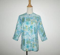 Vintage 1950s 1960s Blouse / 50s 60s Abstract Blouse / 50s 60s