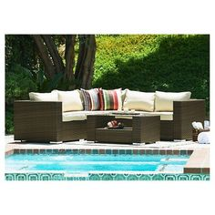 The-Hom Kessler 4 Pieces Wicker Sectional Patio Sofa Set : Target