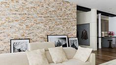 foorni.pl | KAMIEŃ NATURALNY IVORY, ściana kamienna w salonie, producent: Stegu