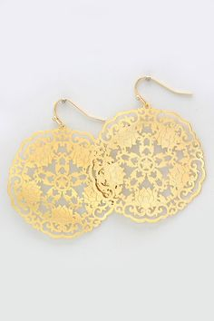 Stunning Laser Cut Lotus Earrings, Light and Gorgeous in Gold.
