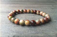 Armband met jade kralen (aarde kleuren)