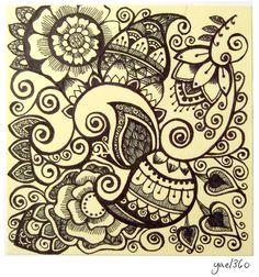 Yellow zentangle doodle art  by Yael360 (me! :-)   )