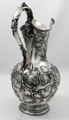 Eoff and Sheppard coin silver pitcher with ivy applied Baby Animals Pictures, Antique Silver, Ivy, Coins, Eggs, How To Apply, Pottery, Vase, Ceramics
