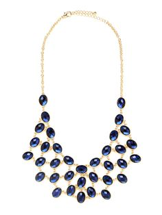 Make a serious style statement with this fiercely bold necklace, which features a glam mesh bib crafted from glittering gemstones. The look is luxe and plenty posh, too.
